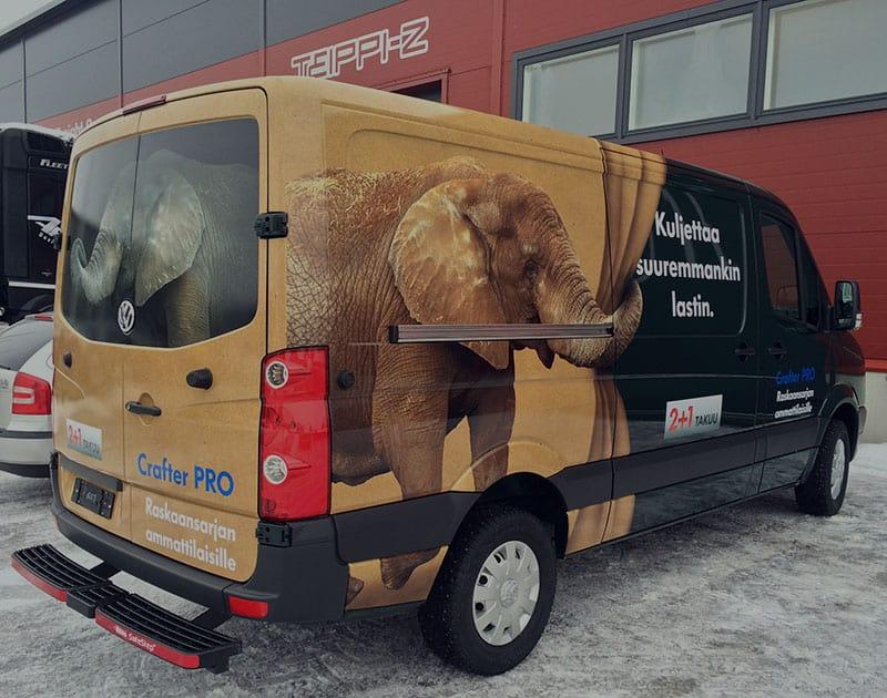 Autoteippaus, elefantti